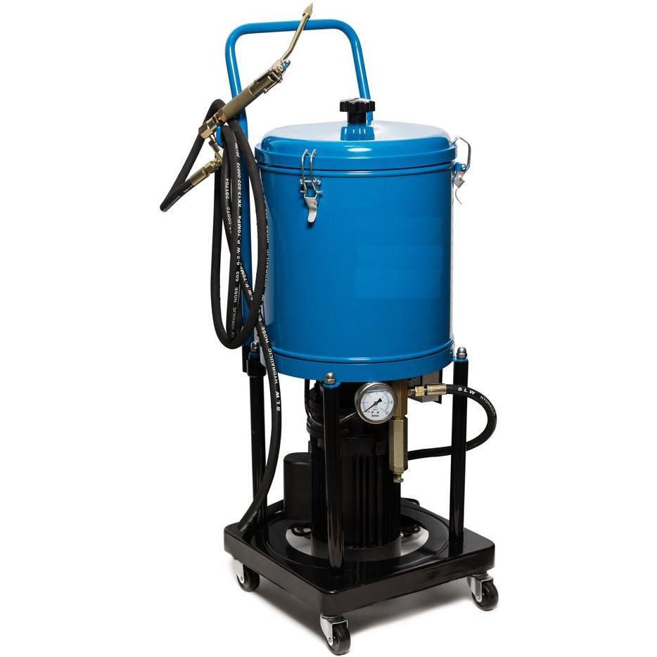 Электрический нагнетатель для солидола, питание 220В, резервуар 15л, передвижной