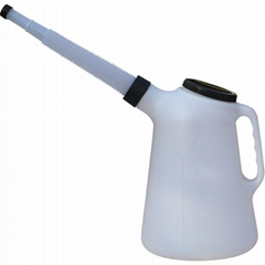 5L Plastic Oil Jug Measuring Can & Flexi Spout With Lid