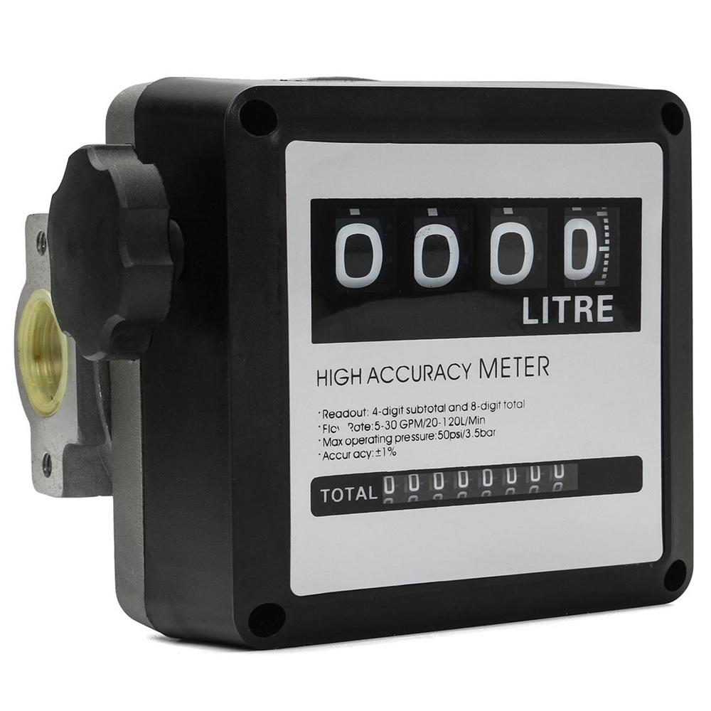 FM-120 4 Digital Gasoline Fuel Petrol Oil Flow Meter 20-120L/m for Diesel Counter