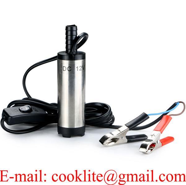12V Mini Pompe Submersible Electrique Transfert d'eau/Diesel/Kérosène Siphon Diamètre 3.8cm pour Moto Automobile Voiture