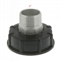 """Stainless Steel IBC Tote Tank Adapter S60x6 2"""" Female Thread to 1"""" BSP Male Thread"""