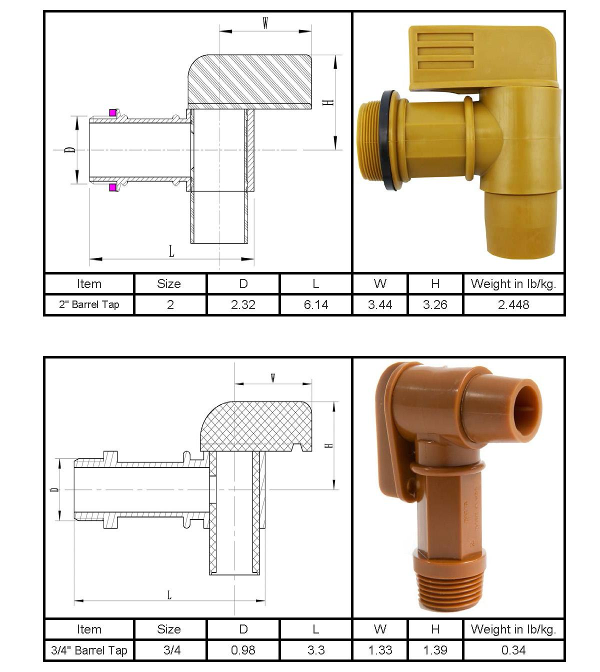 Polyethylene Manual Drum Faucet Gold Barrel Tap