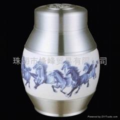 錫瓷結合茶葉罐