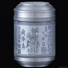 水晶镶锡茶叶罐