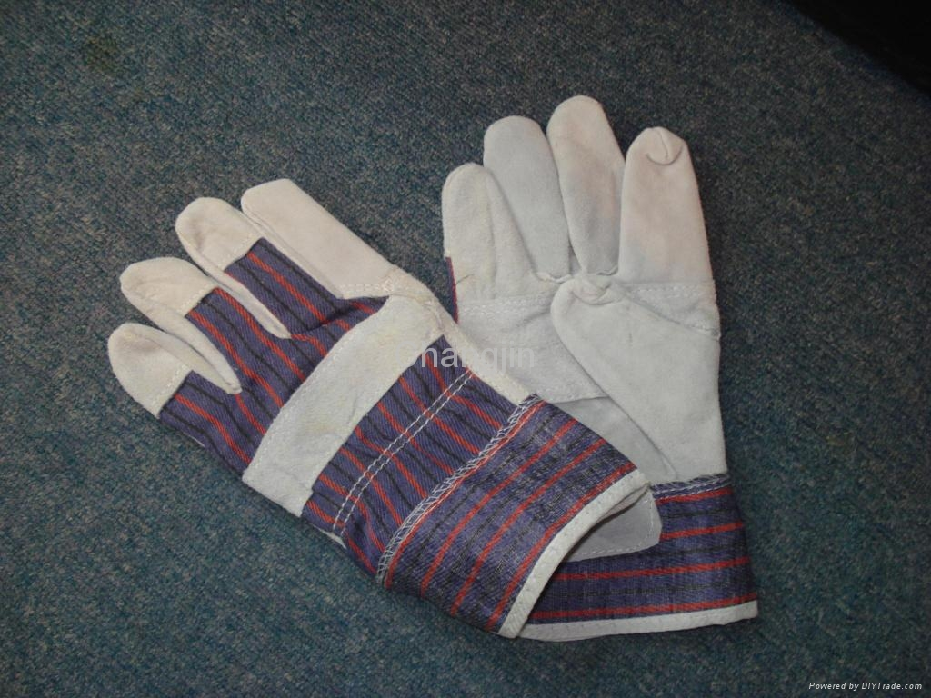 stripe cotton fabric leather gloves 1