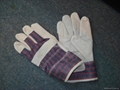 stripe cotton fabric leather gloves
