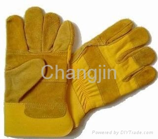 cheap yellow leather working glove 1