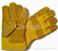 cheap yellow leather working glove