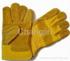 cheap yellow cowhide working glove