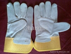 cheap yellow twill cotton back working glove