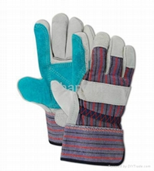 10.5' blue double palm leather glove