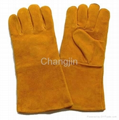 yellow cowhide welding glove