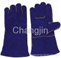 popular blue leather welding glove