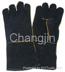 black color cow split leather welding glove 1