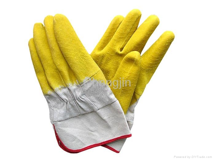 yellow color latex glove full coated rubber glove 4