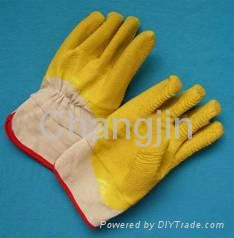 yellow color latex glove full coated rubber glove 5