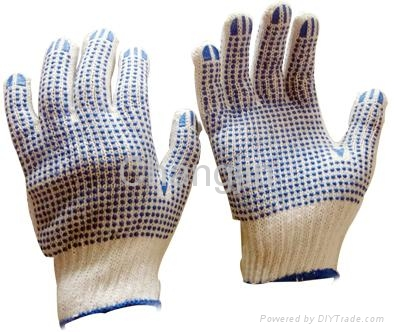 knit glove cotton glove with PVC dots 3