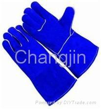 popular blue leather welding glove 2