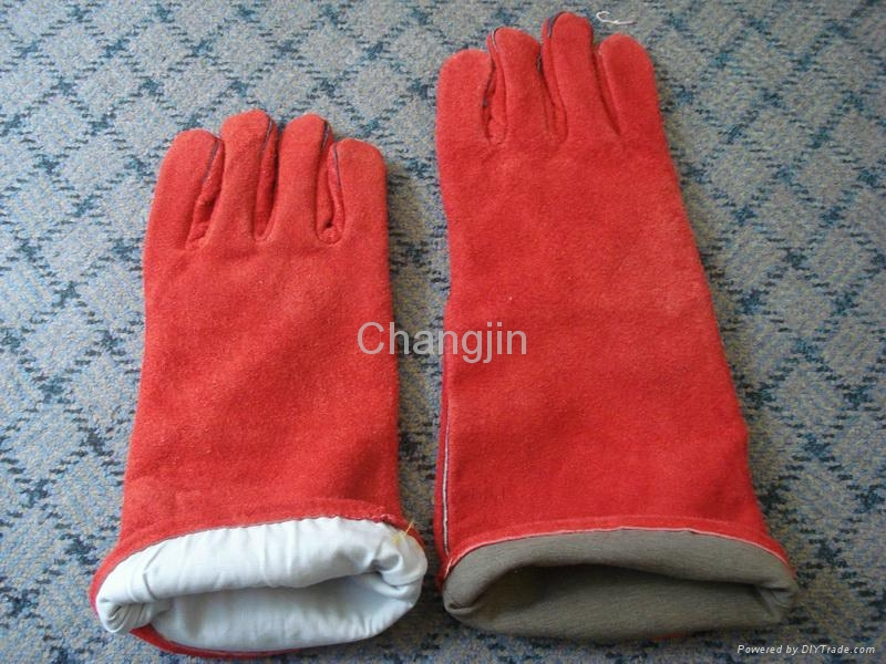 red cow leather welding glove 3
