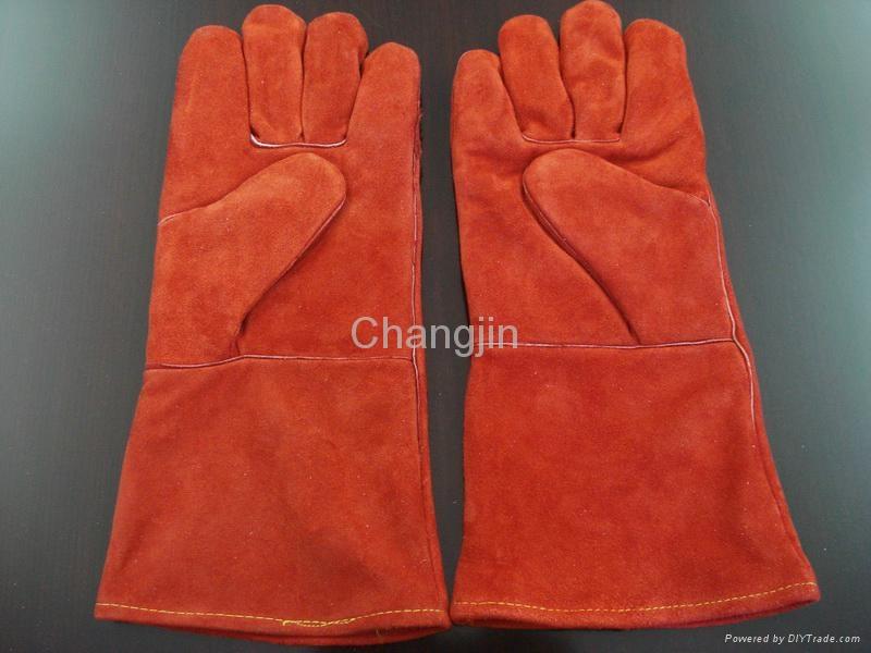 black color cow split leather welding glove 2