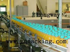 Slat chain conveyor for filled juice bottle
