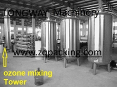 mixing tower with ozone generator for bottle water