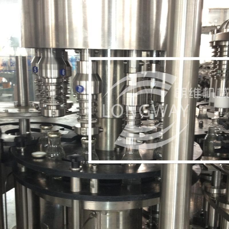 四合一玻璃瓶三旋盖、四旋盖果汁脱氧灌装机 5