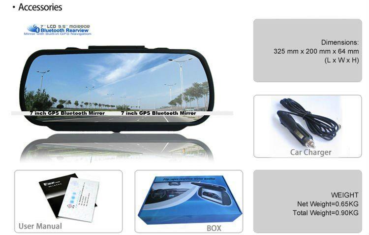 7 Inch GPS Mirror Navigation High Definition Bluetooth Handsfree 3
