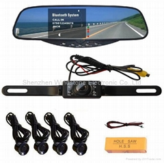 Wireless Camera System+Car bluetooth handsfree rearview mirror 3.5