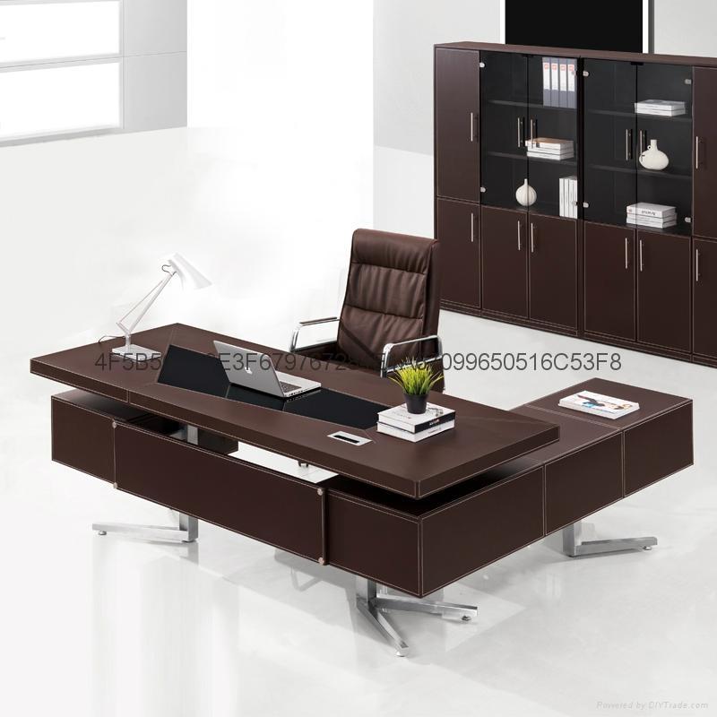 豪華辦公桌老闆桌辦公傢具貼皮 3