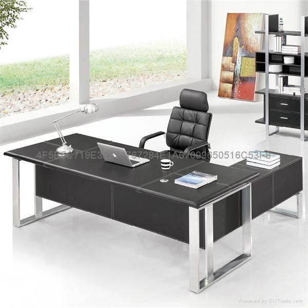 佛山現代辦公傢具老闆桌皮面大班台辦公桌 2