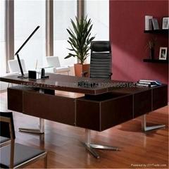 佛山现代办公家具老板桌皮面大班台办公桌