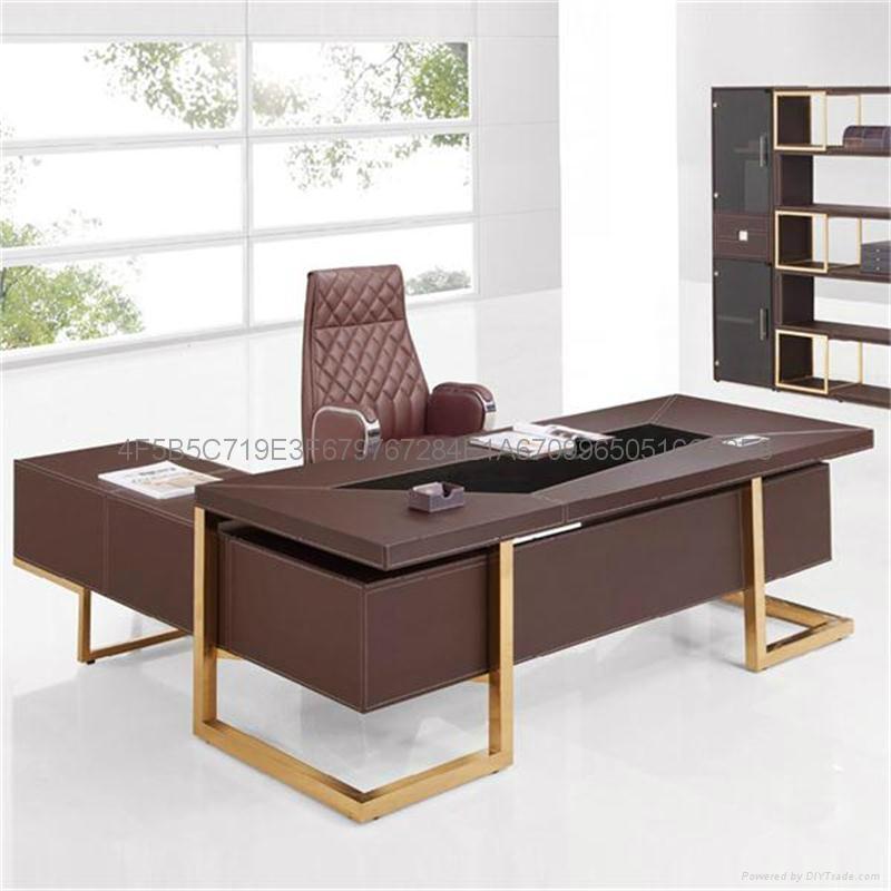佛山現代辦公傢具老闆桌皮面大班台辦公桌 3