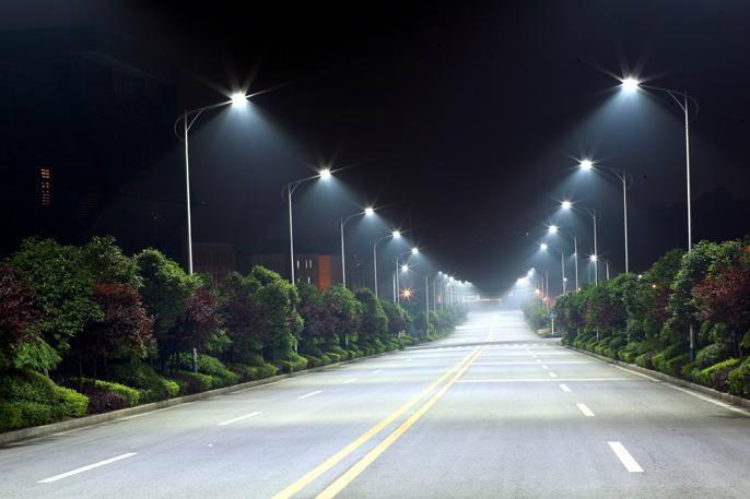 欧式路灯街道夜景