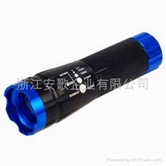 強光Cree Q3燈泡超亮三功能帶閃鋁合金旋轉調焦手電筒