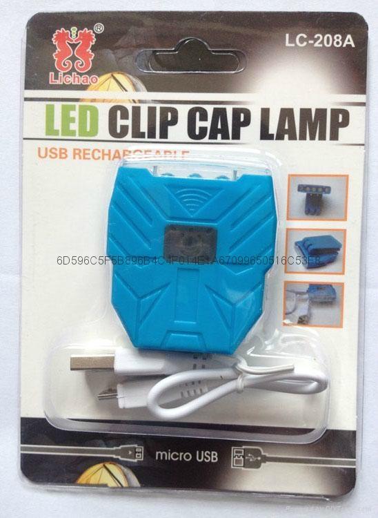 LICHAO 5 LED high power USB recharger clip cap light hat lamp 12
