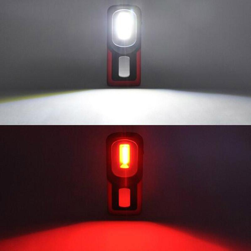 Portable COB LED Flashlight USB Rechargerable Magnetic Work Light Torch Lamp Red 9