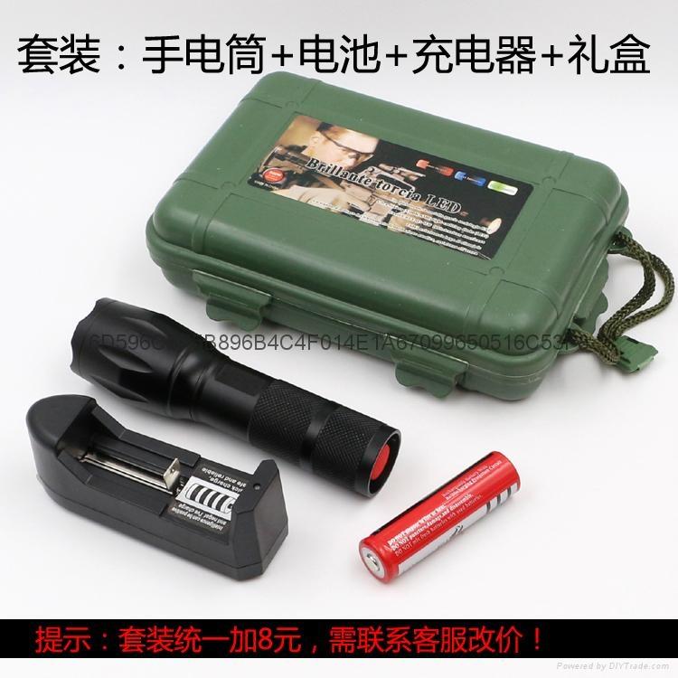 铝合金T6强光手电筒 CREE XML T6伸缩调焦LED铝合金手握式电筒 11