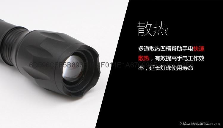 鋁合金T6強光手電筒 CREE XML T6伸縮調焦LED鋁合金手握式電筒 6
