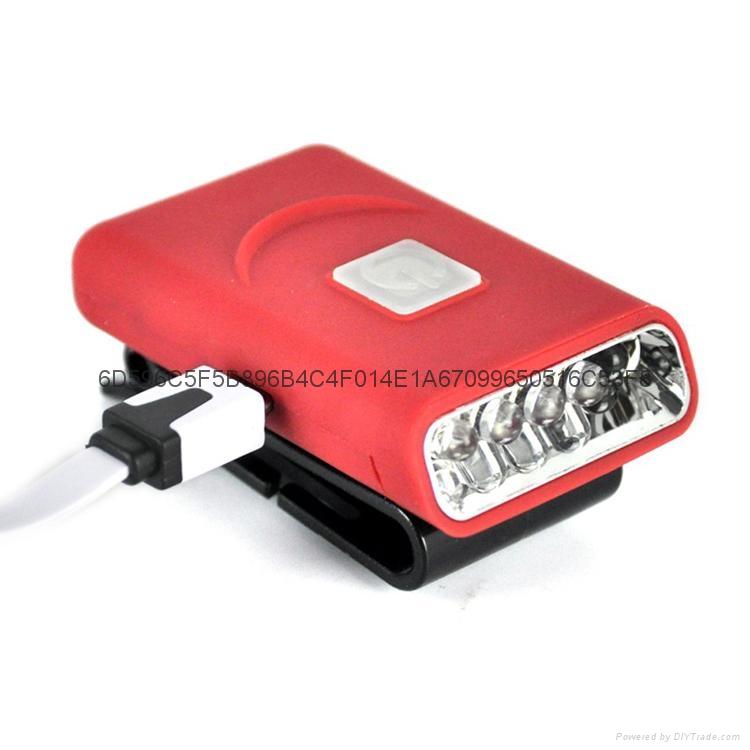 G017#3LED感應帽燈 USB充電帽夾燈 LED帽檐燈 6