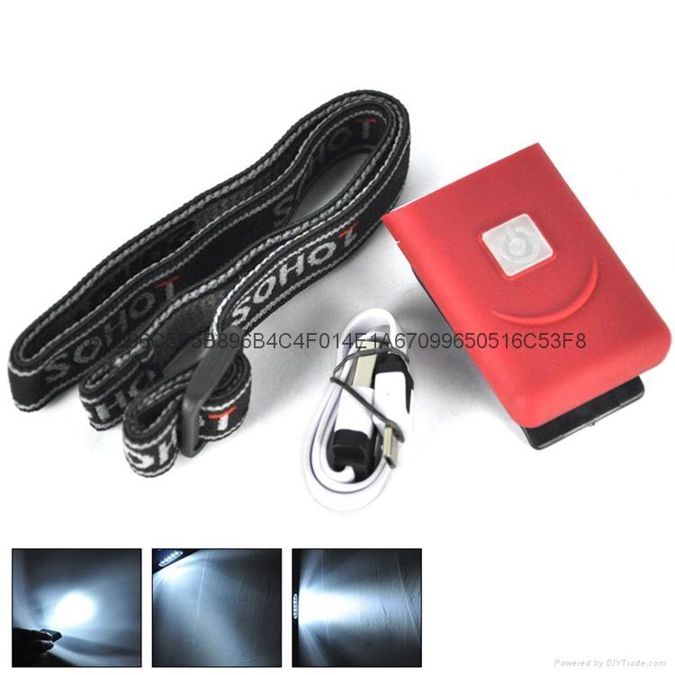 G017#3LED感應帽燈 USB充電帽夾燈 LED帽檐燈 1