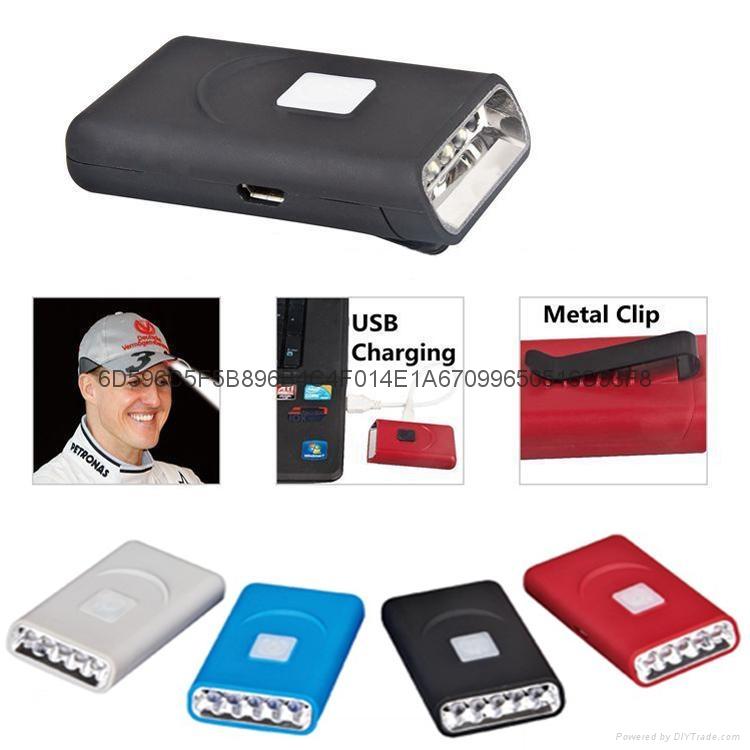 G016#帽檐灯USB充电帽灯5LED帽灯铝帽灯 6