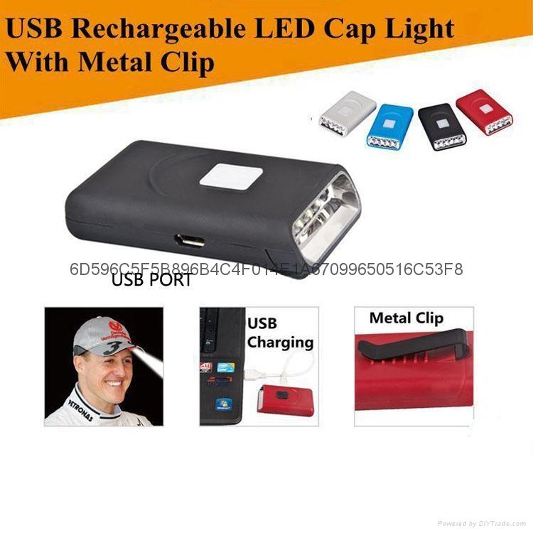 G016#帽檐灯USB充电帽灯5LED帽灯铝帽灯 5