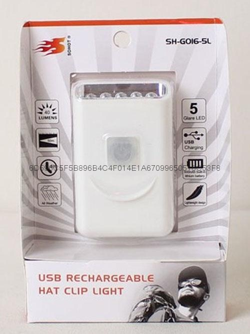 G016# USB Rechargeable LED Cap Light with Metal Clip,5led cap light 4