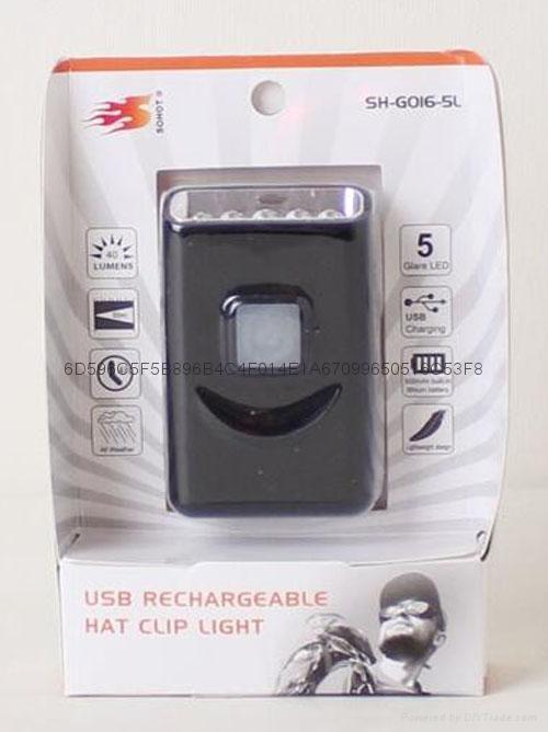 G016# USB Rechargeable LED Cap Light with Metal Clip,5led cap light 3