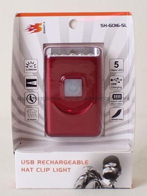 G016#帽檐灯USB充电帽灯5LED帽灯铝帽灯 2