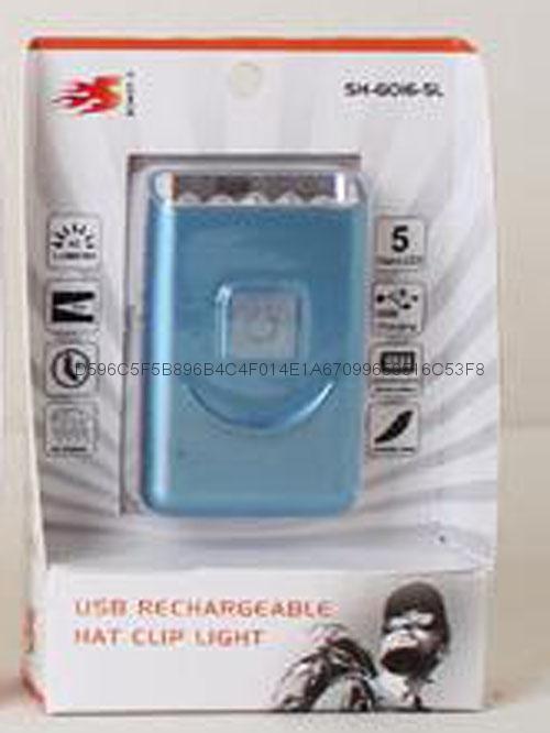 G016# USB Rechargeable LED Cap Light with Metal Clip,5led cap light 1