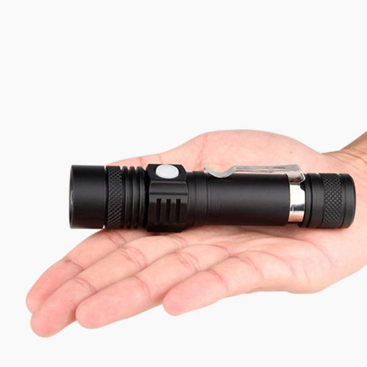 新款 LED強光遠射手電筒 USB充電迷你小手電筆夾 戶外照明騎行 8