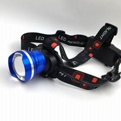 10W強光頭燈鋁合金頭燈LED充電調焦頭燈頭戴燈釣魚燈戶外