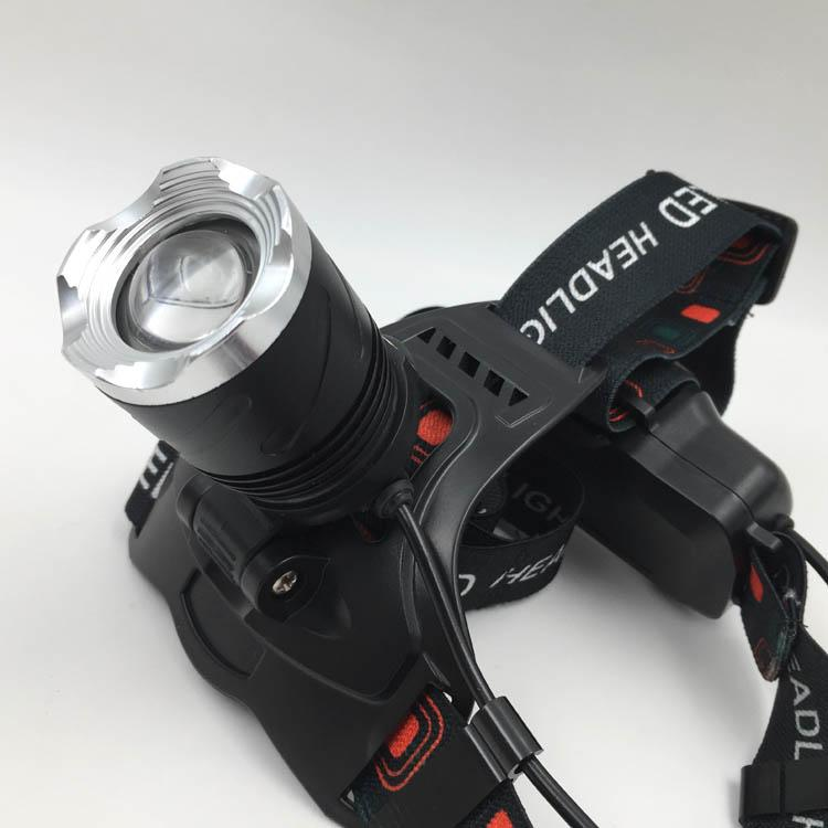 Powerful T6 LED Rechargeable headlamp Zoom Head Light LED Head Torch Light  2